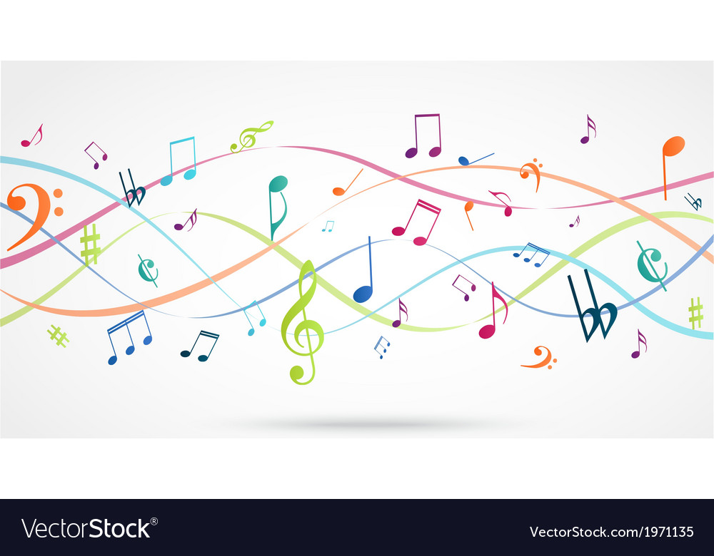 3d Colorful Music Notes Wallpaper: Abstract Background With Colorful Music Notes Vector Image