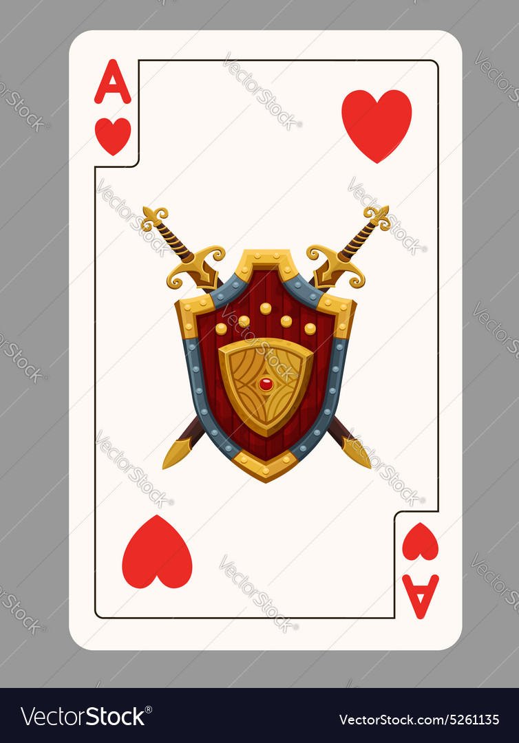 Ace of hearts playing card vector image