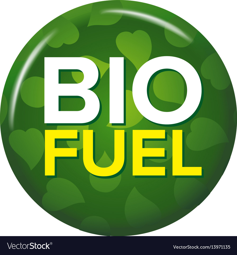 Bright green round button with words bio fuel vector image