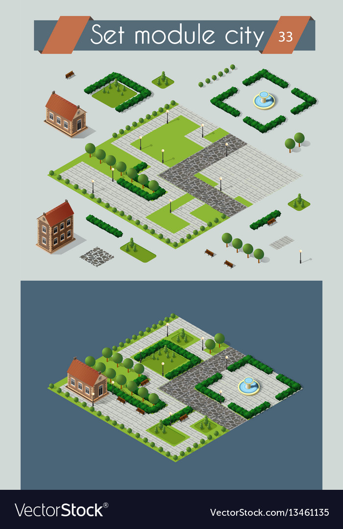 Retro isometric country house vector image