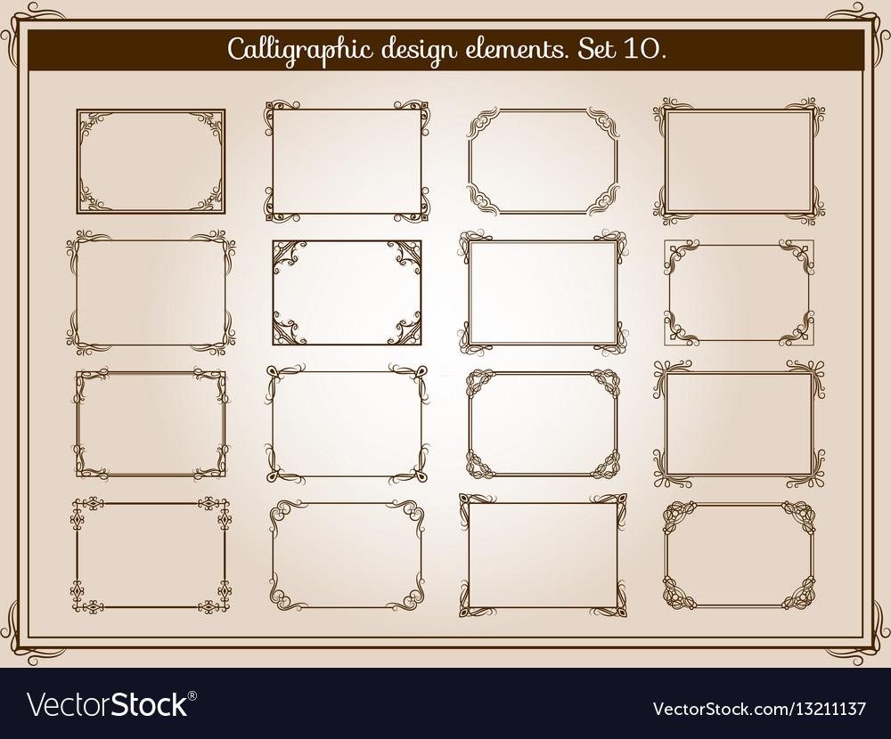 Decoration vintage flourish frames with vector image