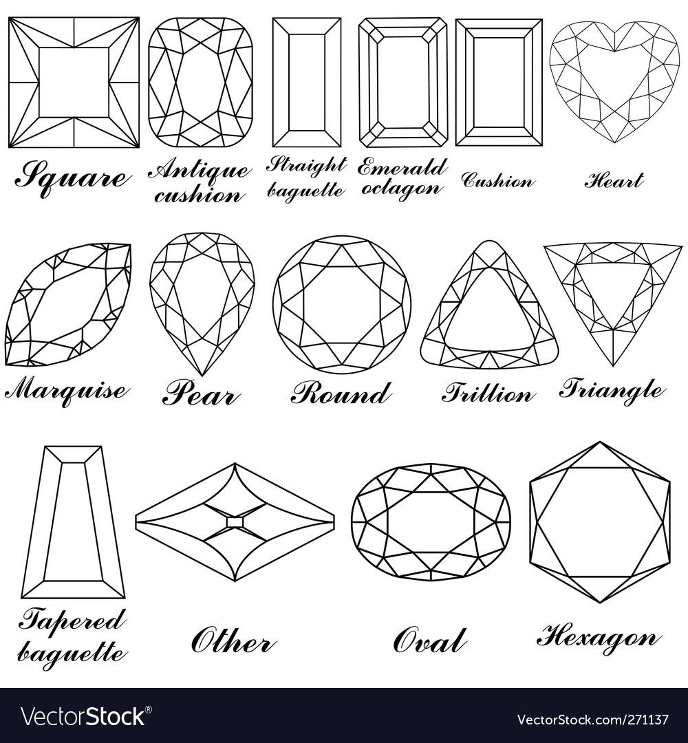 Gemstone shapes vector image