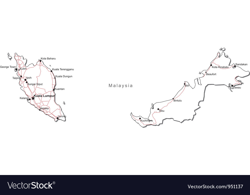 Malaysia Black White Map Royalty Free Vector Image