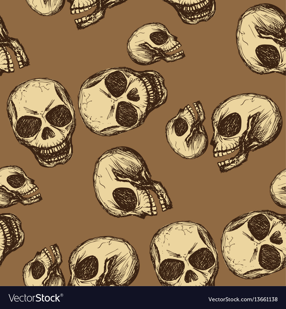 Seamless pattern hand drawing skull vector image