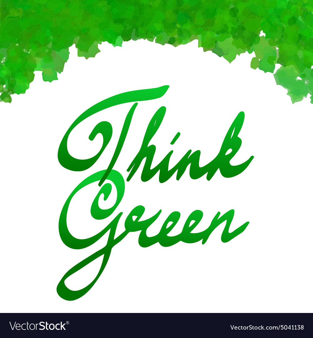 Think green with watercolor leaves frame vector image