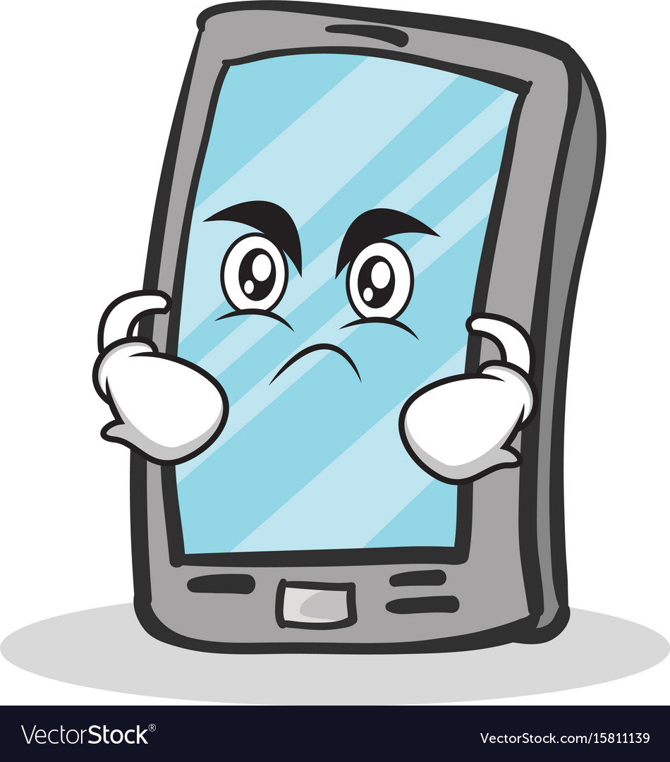 Angry face smartphone cartoon character vector image