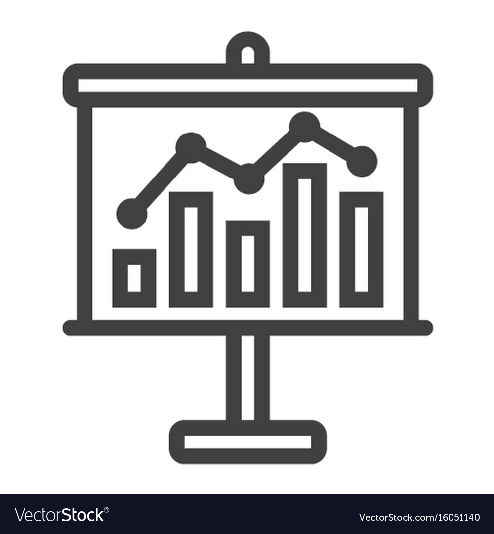 Business growing chart on board line icon vector image