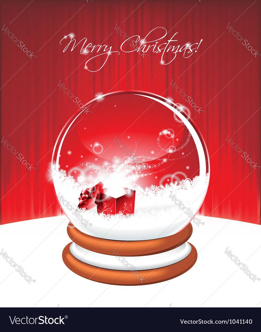 Holiday on a christmas theme with snow globe again vector image