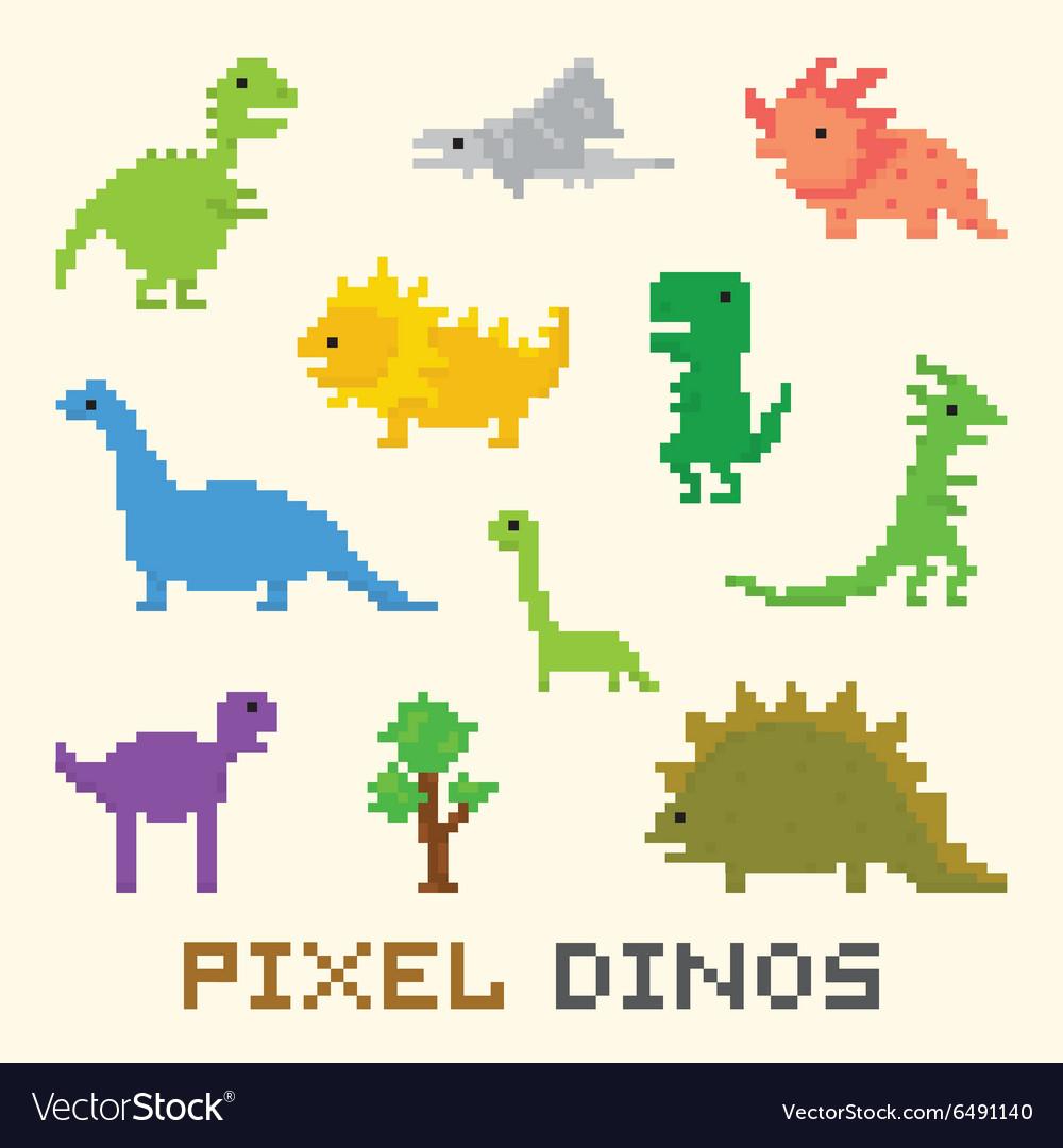 Pixel art dinos object set vector image