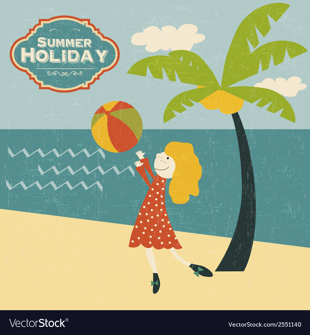 Retro young girl playing ball on the beach vector image