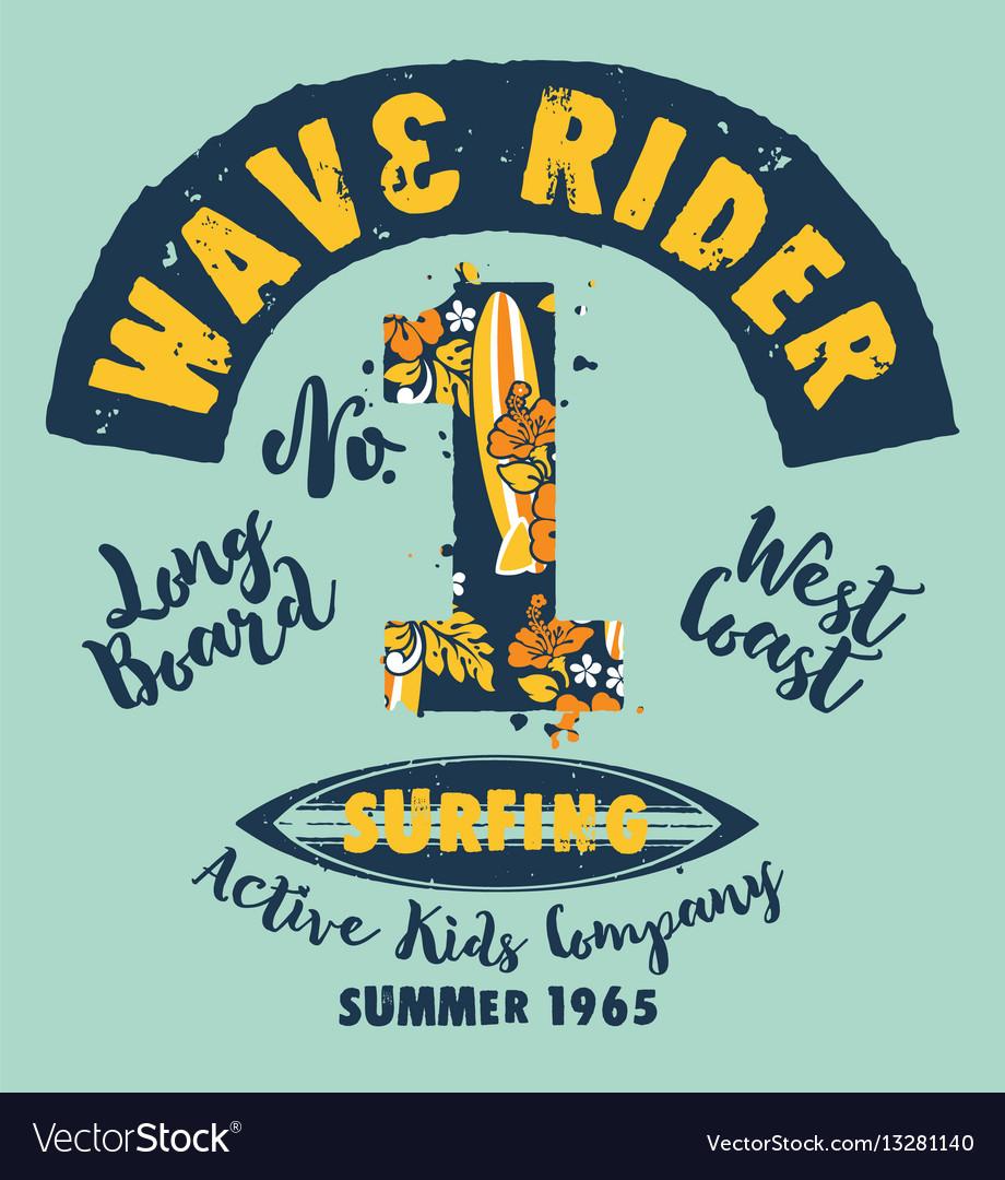 Surfer kids company vector image