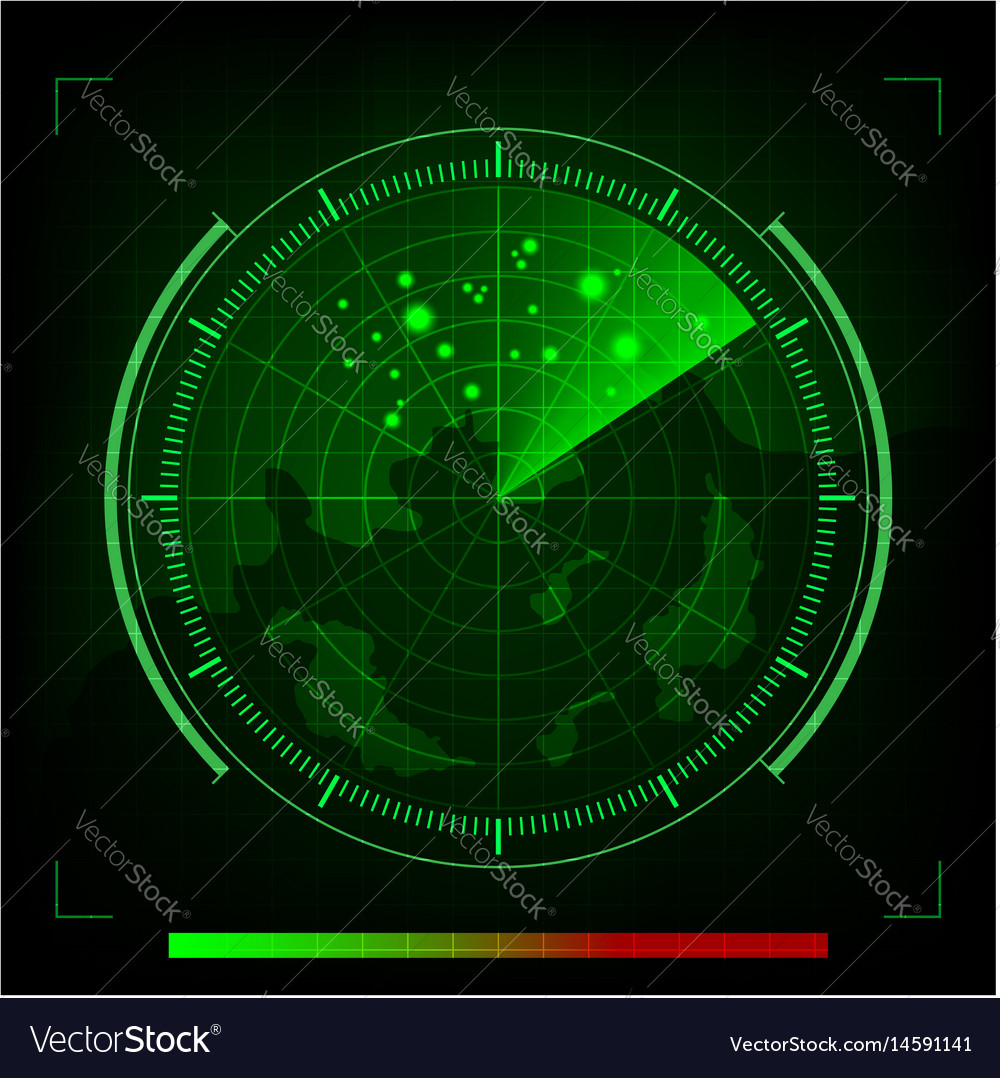 Green radar in searching on black background vector image