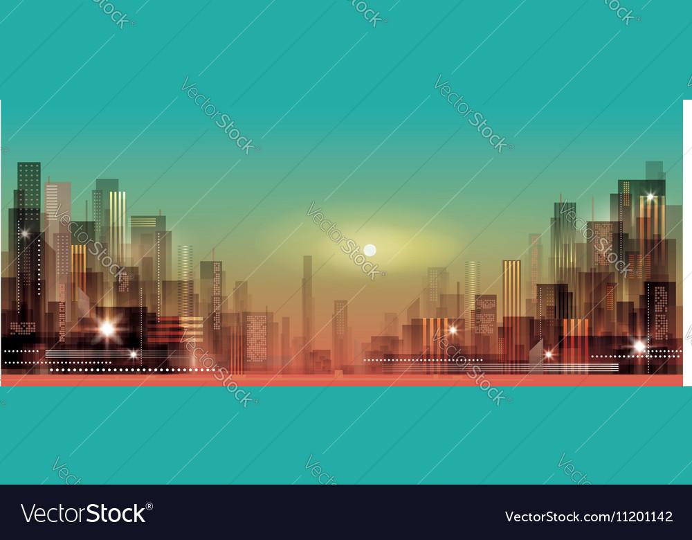 Modern night city cityscape vector image