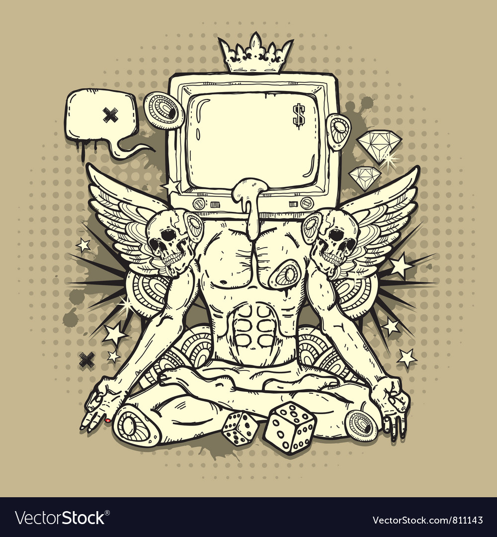 Grunge Design with TV vector image
