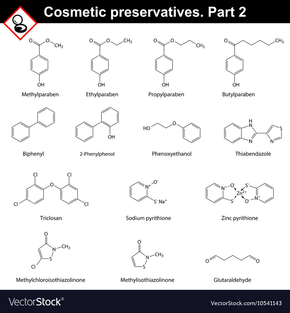 Molecular structures of cosmetic preservatives vector image