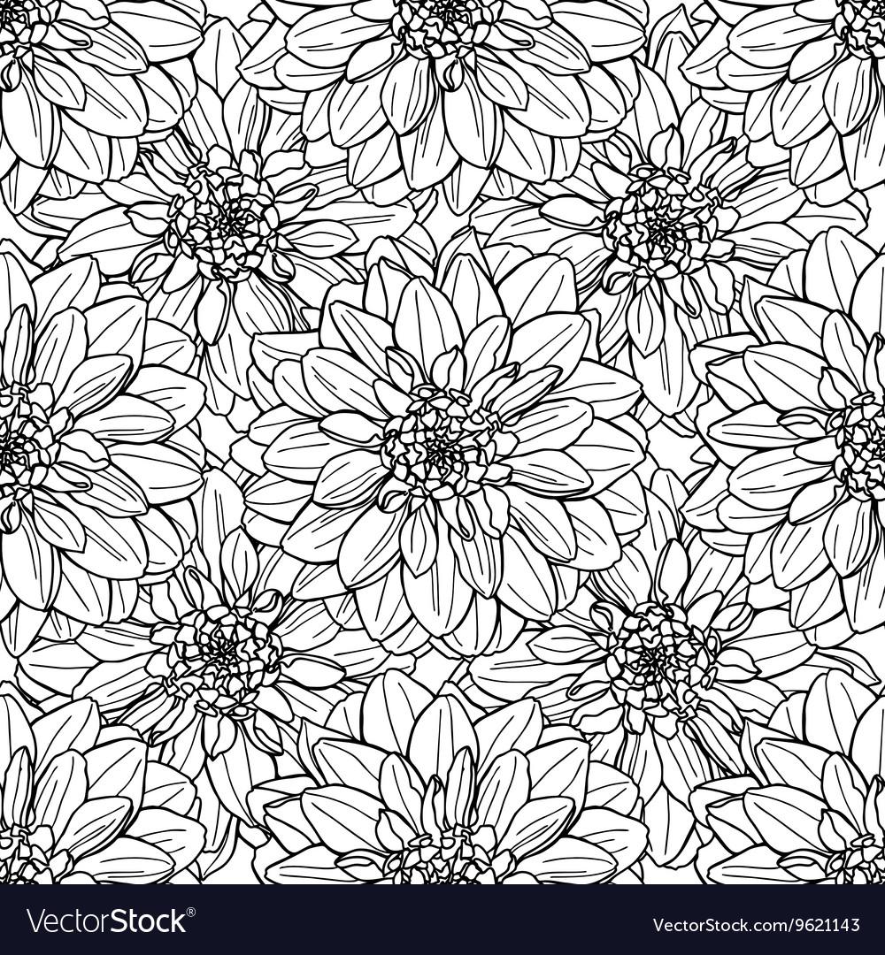 Seamless dahlia flower pattern Line art vector image