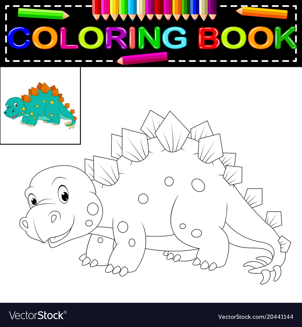 Dinosaur coloring book Royalty Free Vector Image