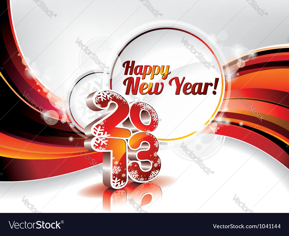 Happy new year design with shiny 2013 text vector image