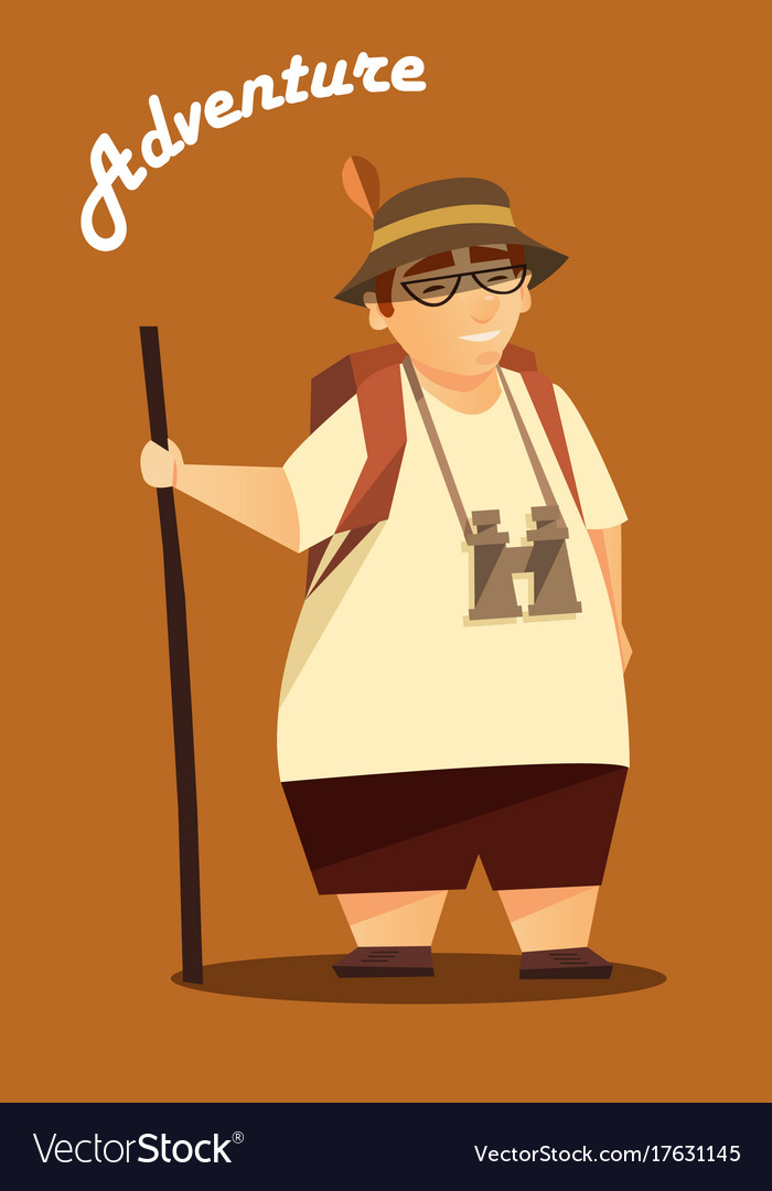 A traveler hiking poster vector image