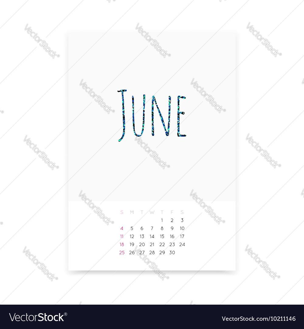 June 2017 Calendar Page vector image