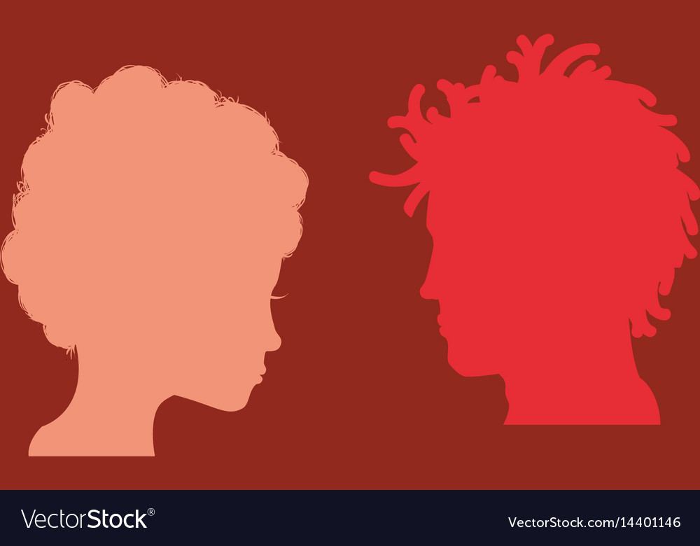 Man and woman heads silhouettes vector image