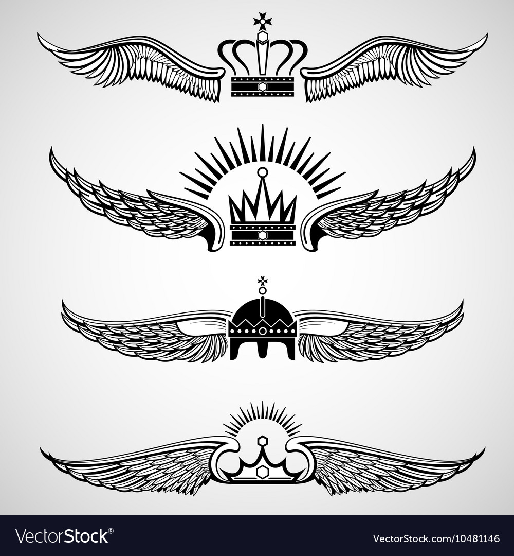 Wings with crowns emblems set vector image