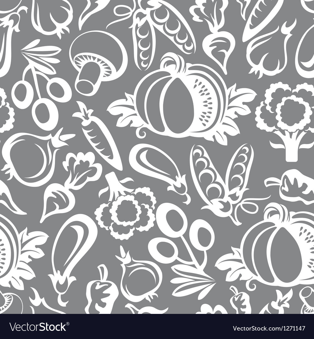 Vegetables background icons vector image