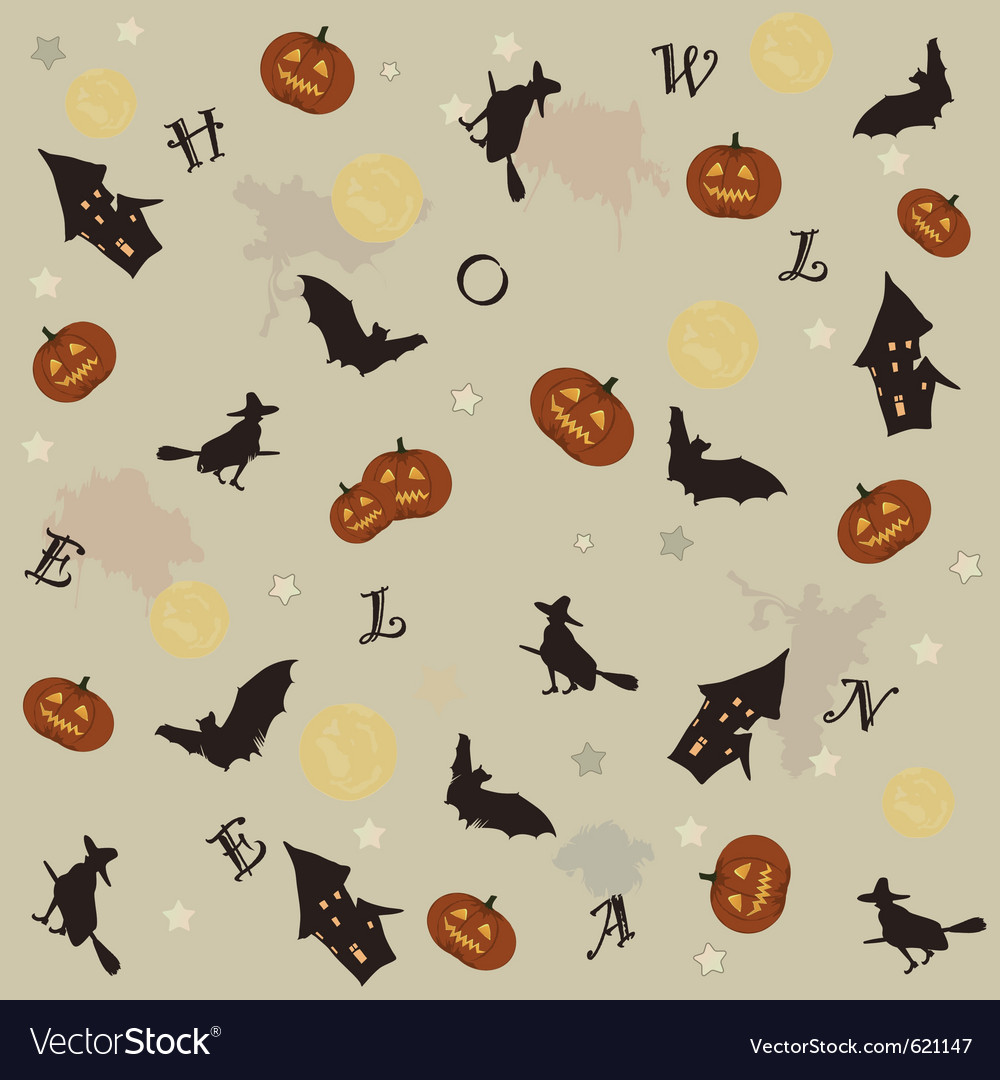 Cute halloween background vector image
