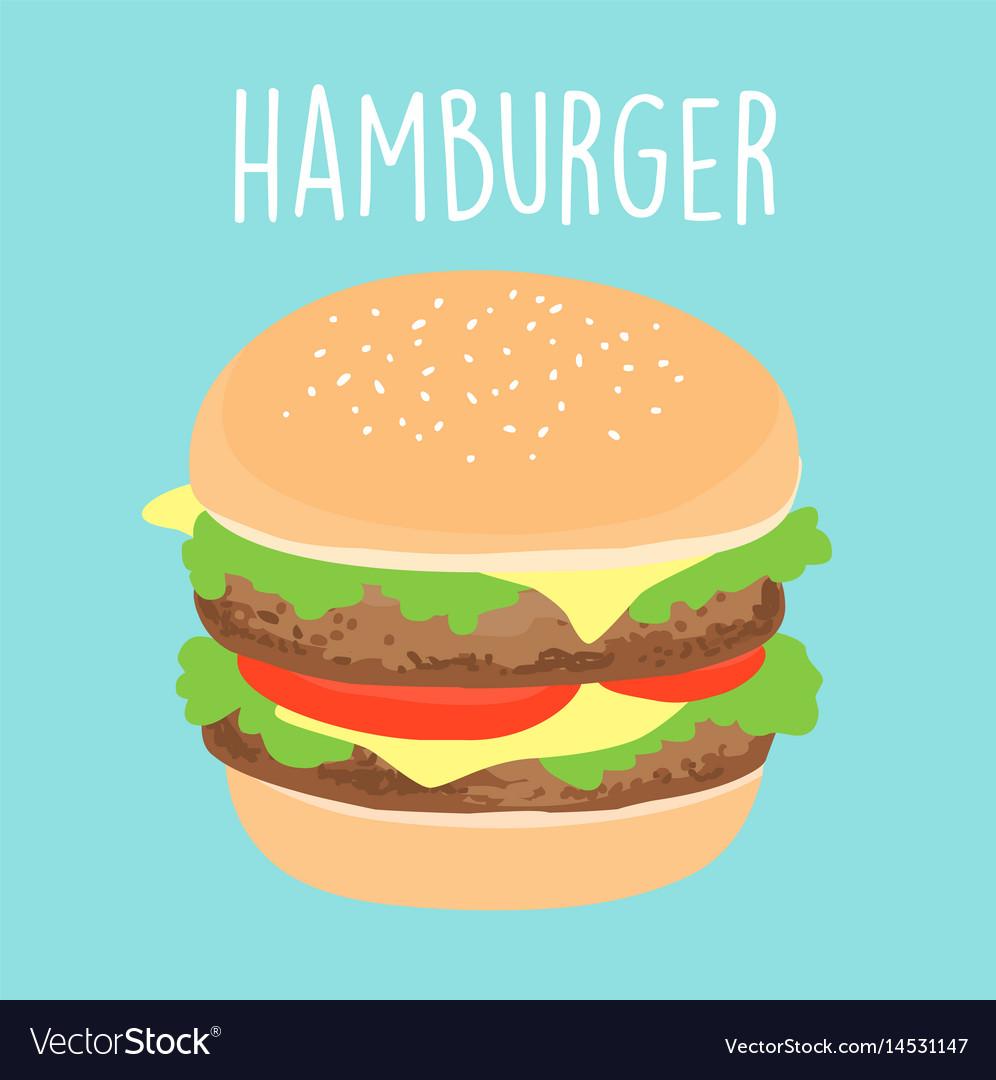 Fresh cheese hamburger graphic vector image