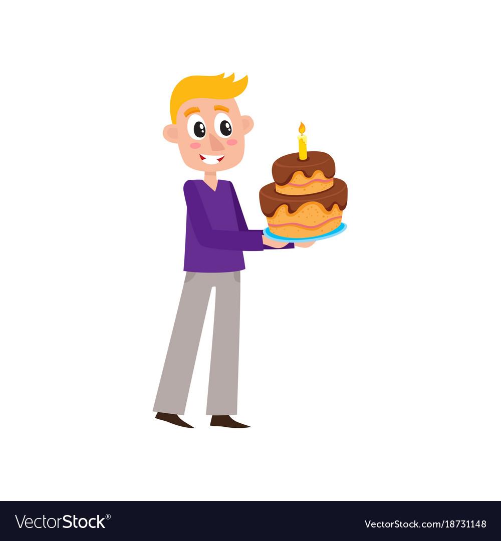 Flat man holding big birthday cake vector image
