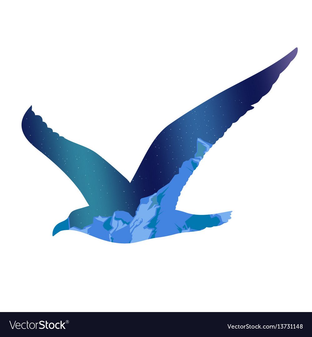 Flying seagull silhouette concept vector image