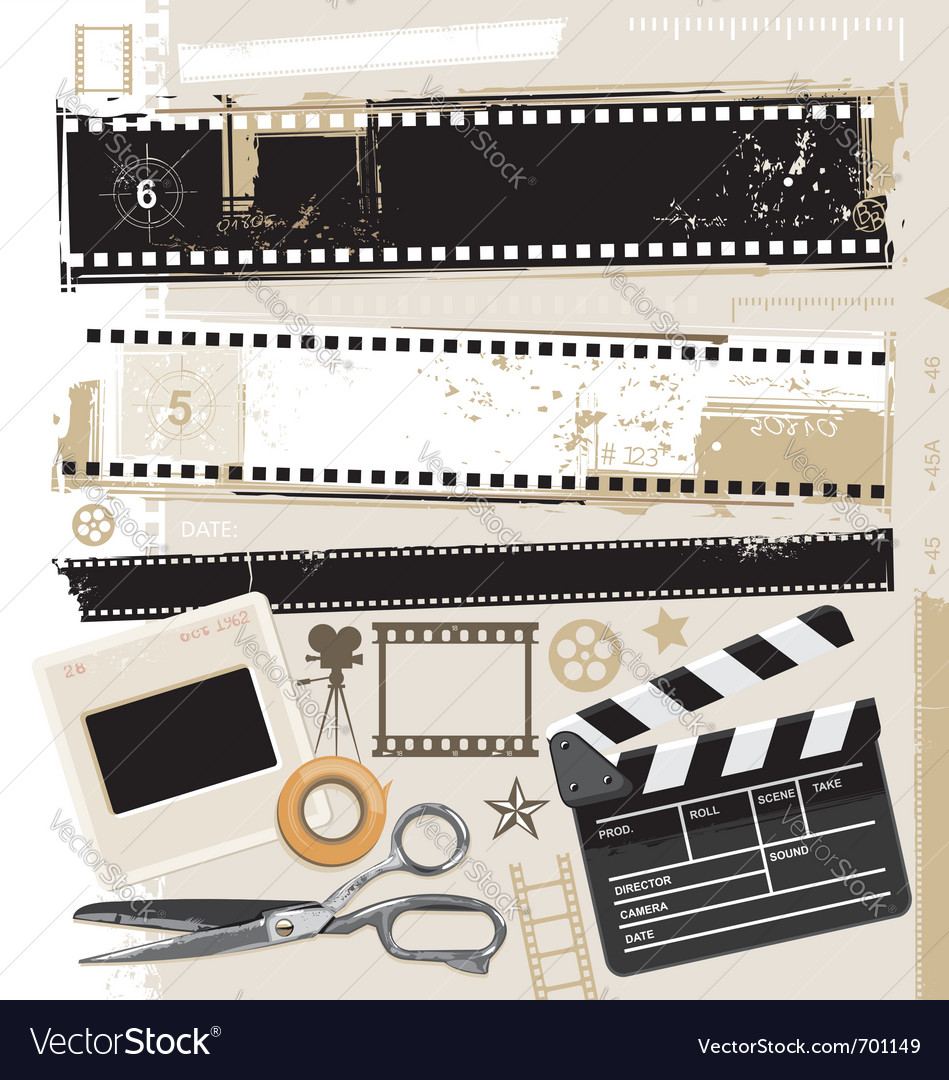 Grungy film and movie design elements vector image
