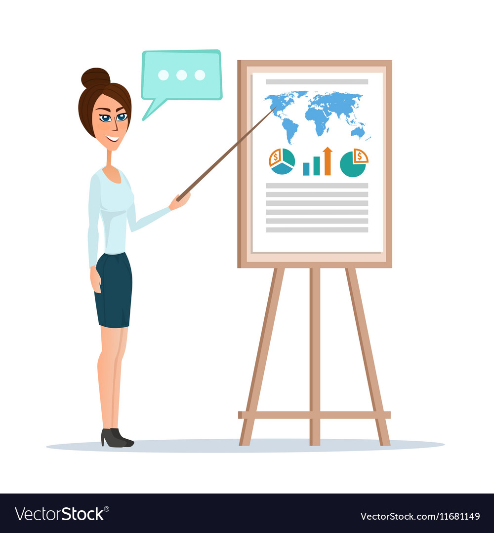 Business woman pointing at a chart board isolated vector image