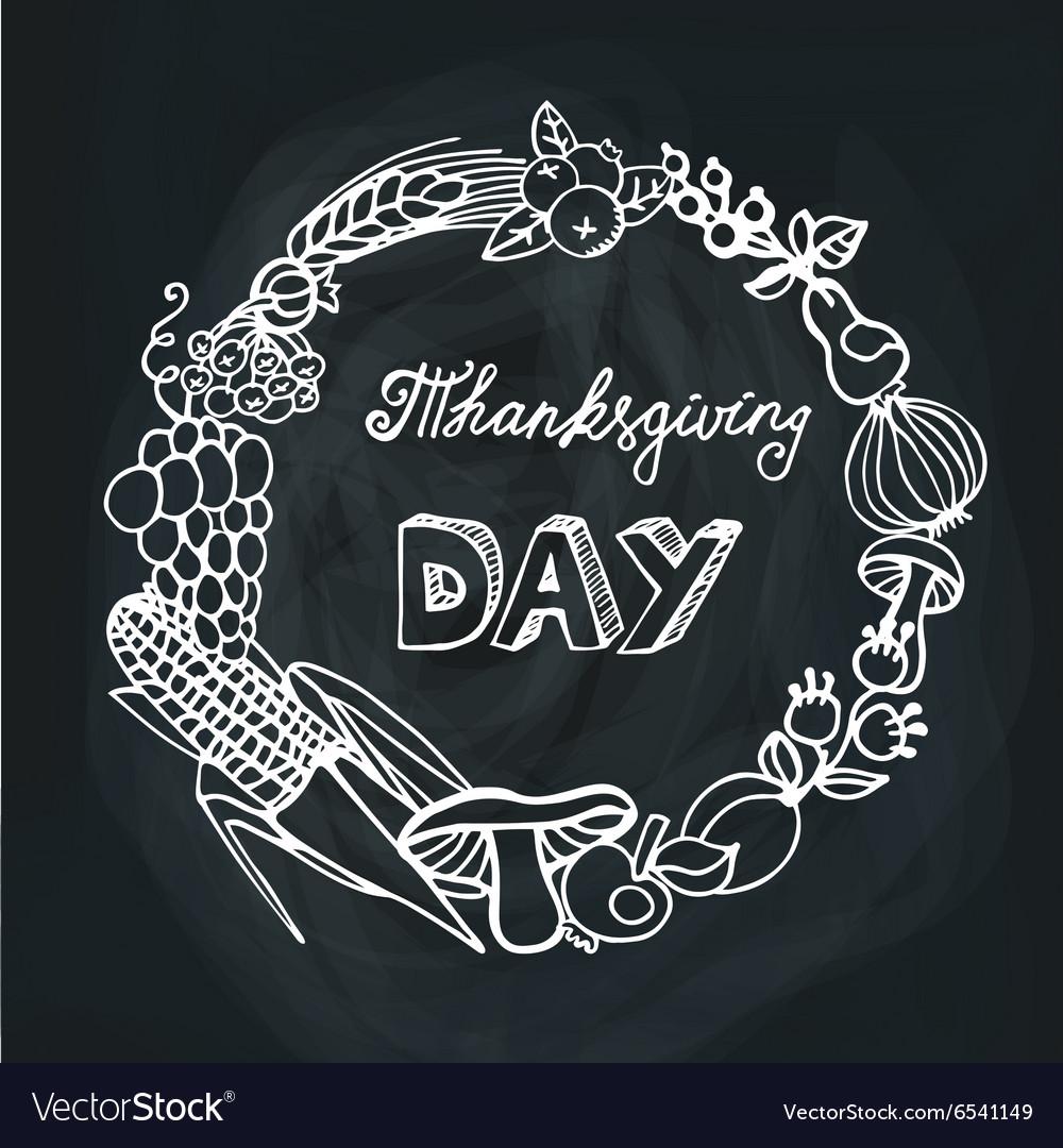 Thanksgiving dayHarvest Linear wreathChalkboard vector image