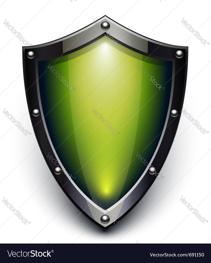 Green security shield vector image