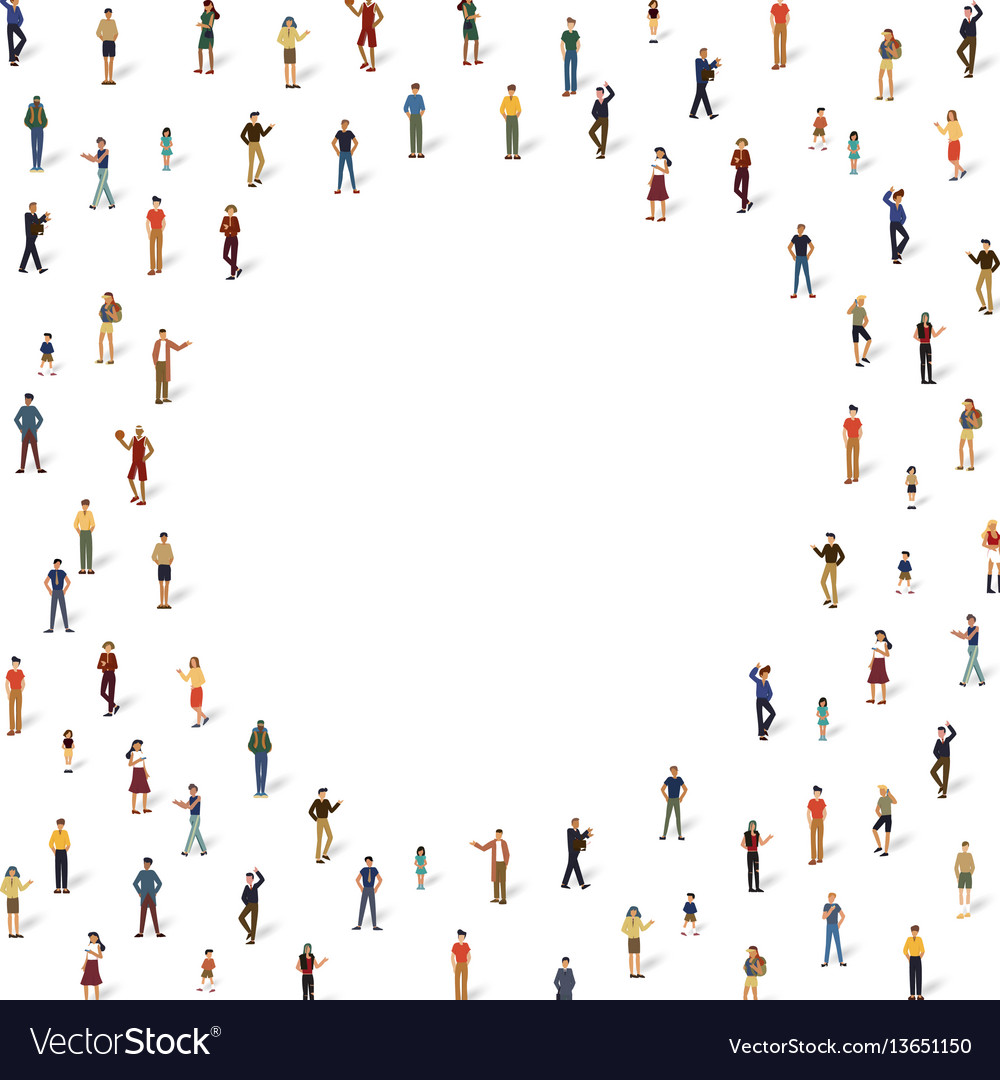 Group of people on the circle frame vector image