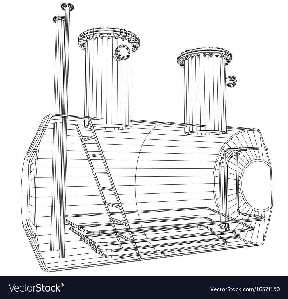 Industrial tank wire-frame eps10 format vector image