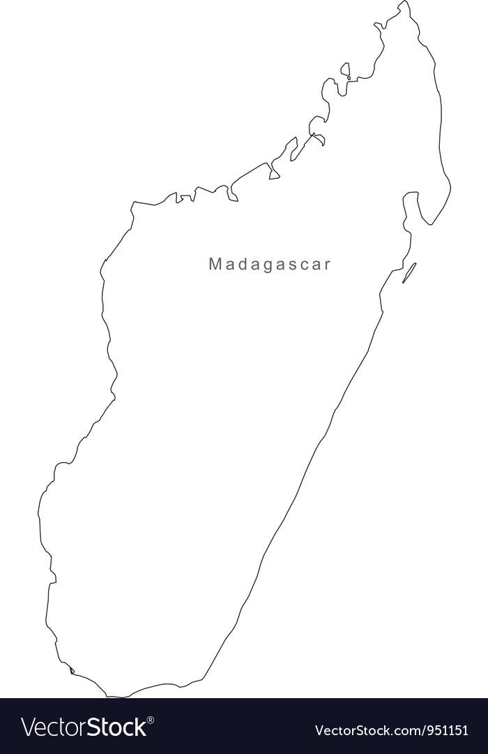 Black White Madagascar Outline Map vector image