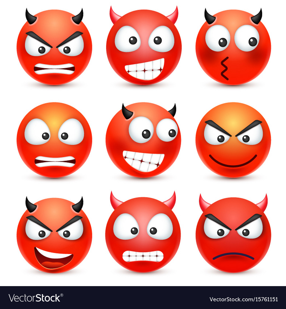 Smileyemoticon set red face with emotions vector image