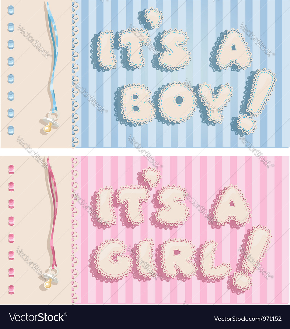 Its a boy and its a girl banners 1 Royalty Free Vector Image