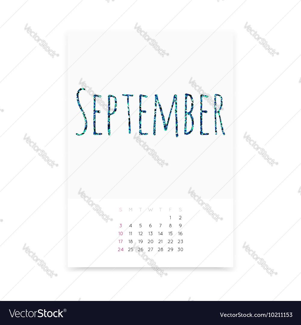 September 2017 Calendar Page vector image