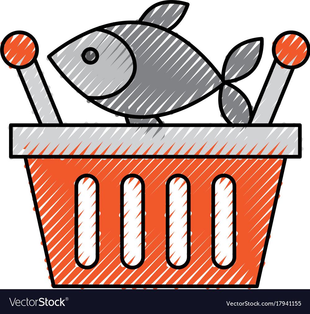 basket shopping fresh fish market seafood vector image rh vectorstock com Shrimp Clip Art Beans Clip Art