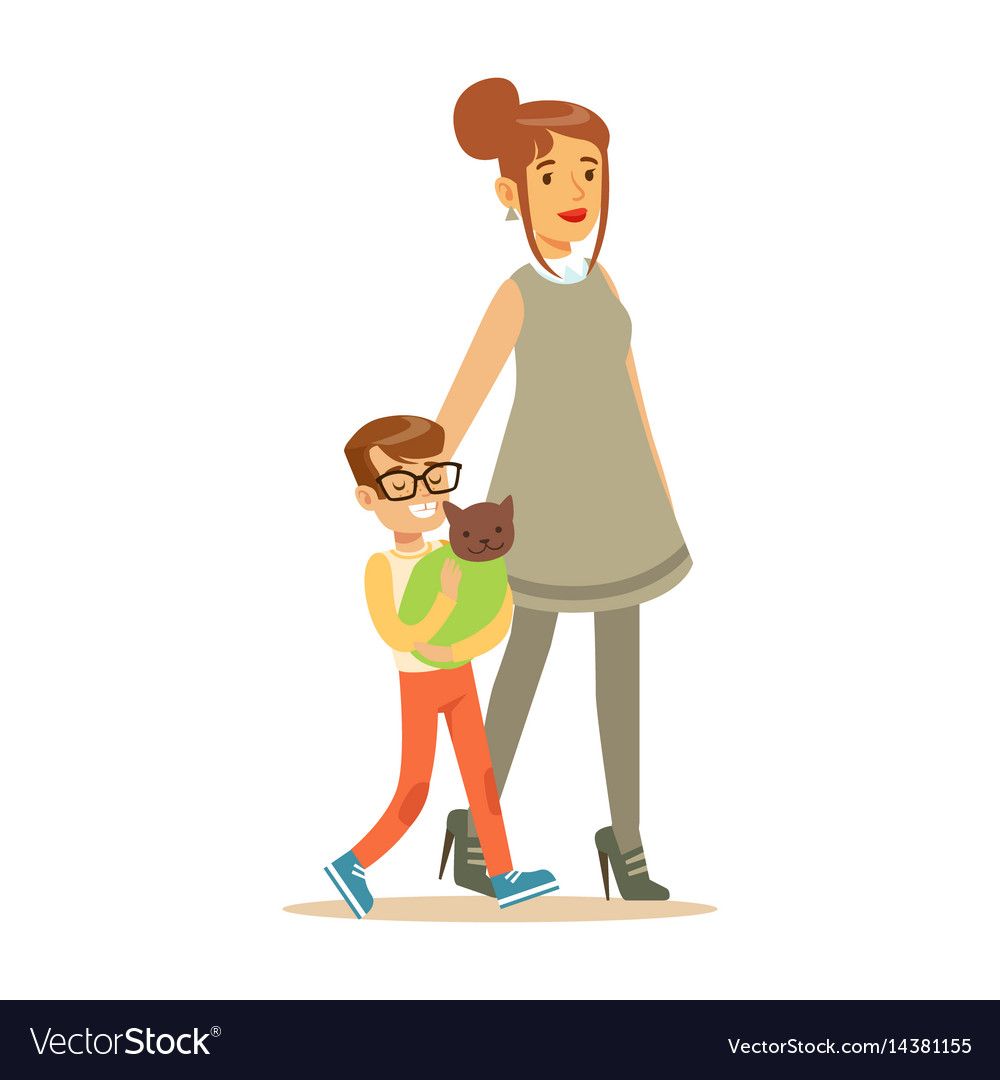 Young boy with his mother holding a wrapped cat vector image