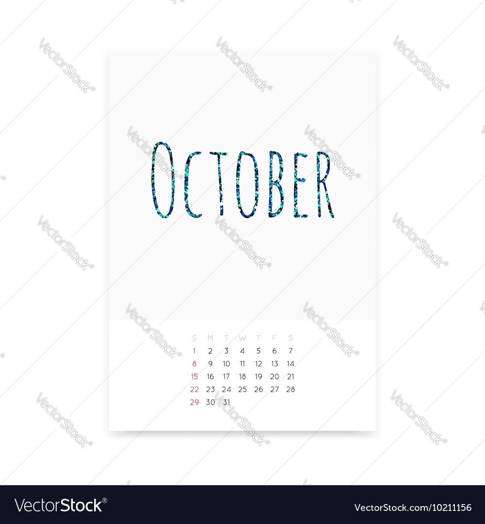 October 2017 Calendar Page vector image