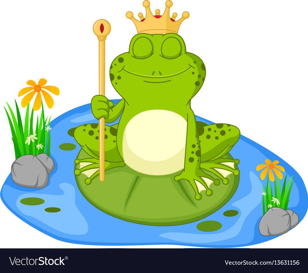 Prince frog cartoon sitting on a leaf vector image