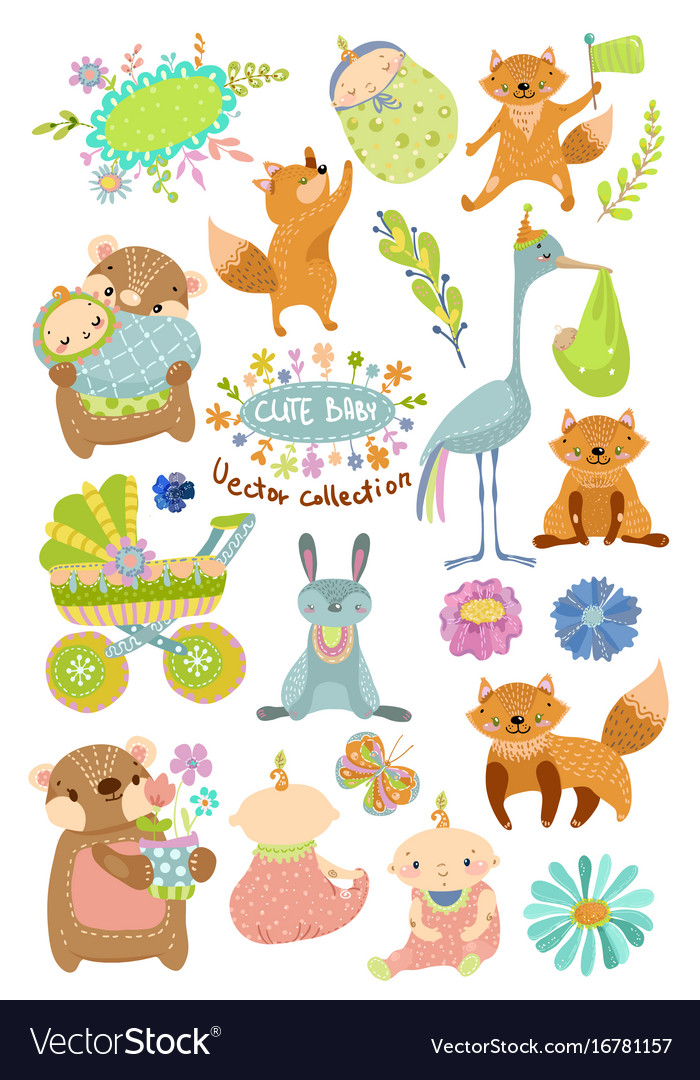 Cute baby cartoon collection with animals vector image