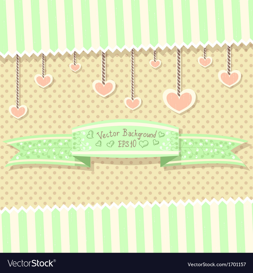 Cute vintage postcard with ribbon vector image