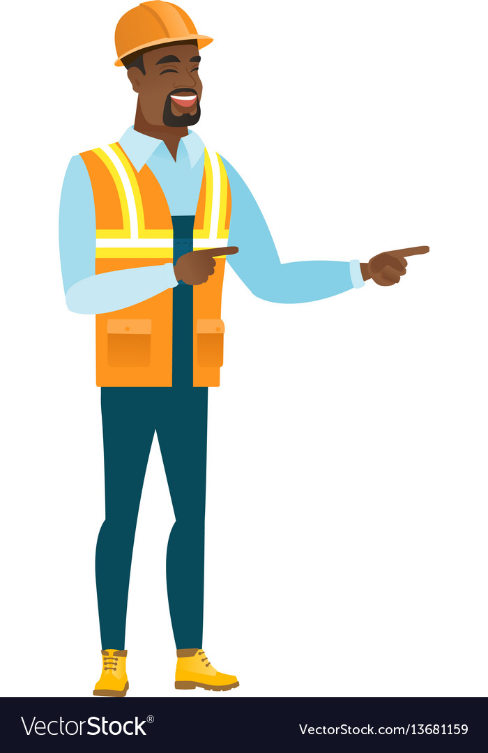 African-american builder pointing to the side vector image