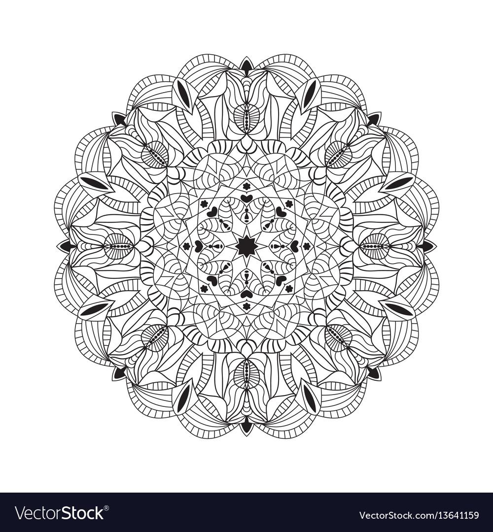 Beautiful black mandala for design element vector image