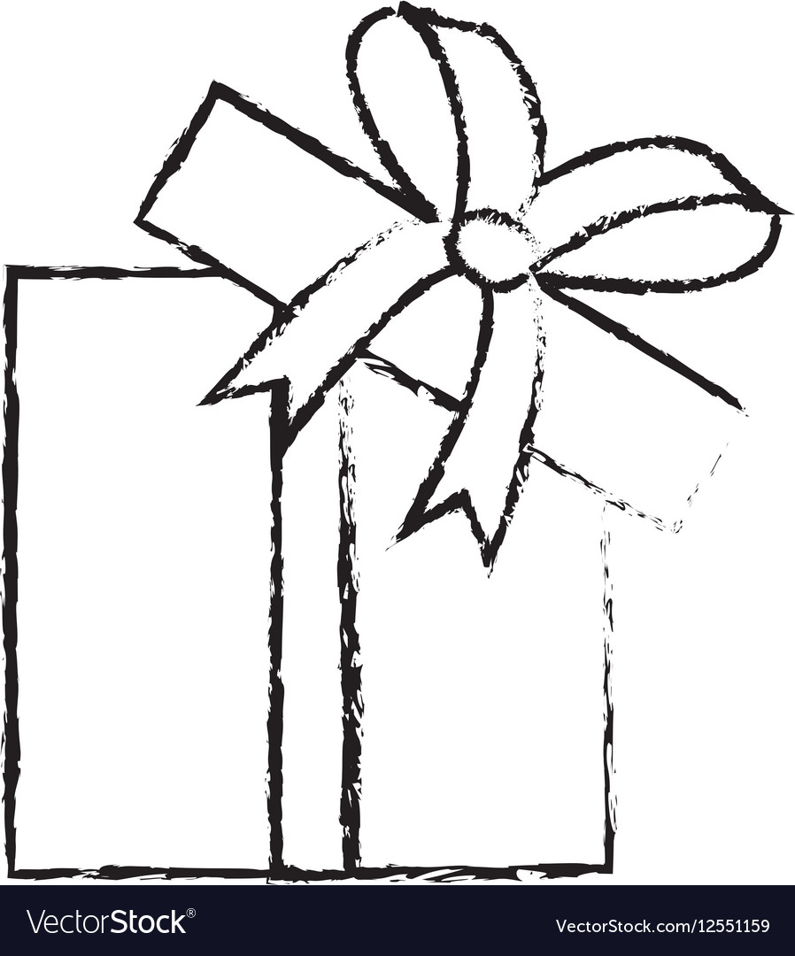 Open gift box ribbon parcel shopping sketch vector image